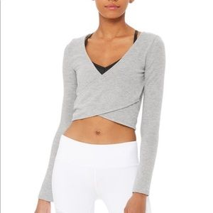 Alo Yoga Amelia Luxe Crop Long Sleeve Gray sz M